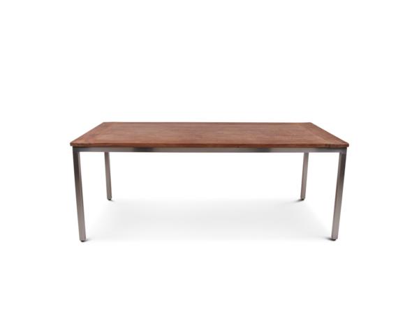 Teak houten tafel met stalen onderstel Kirsten
