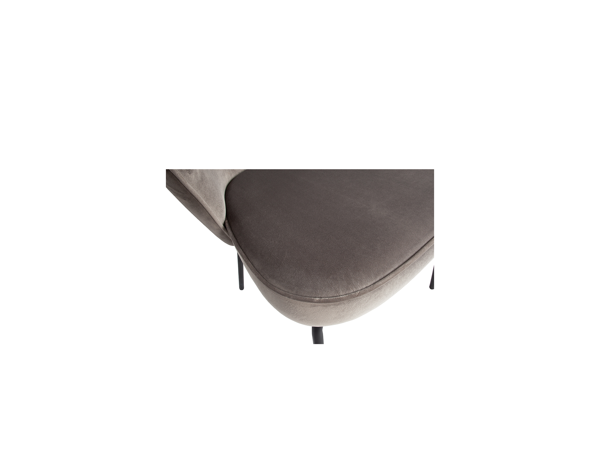 Eetkamerstoel stalen poot velvet grijs