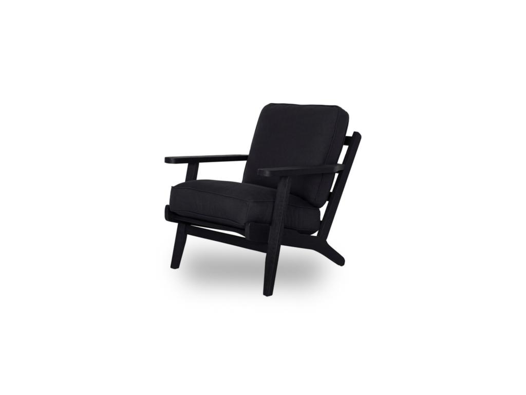 Designfauteuil Carlton zwart hout en stof
