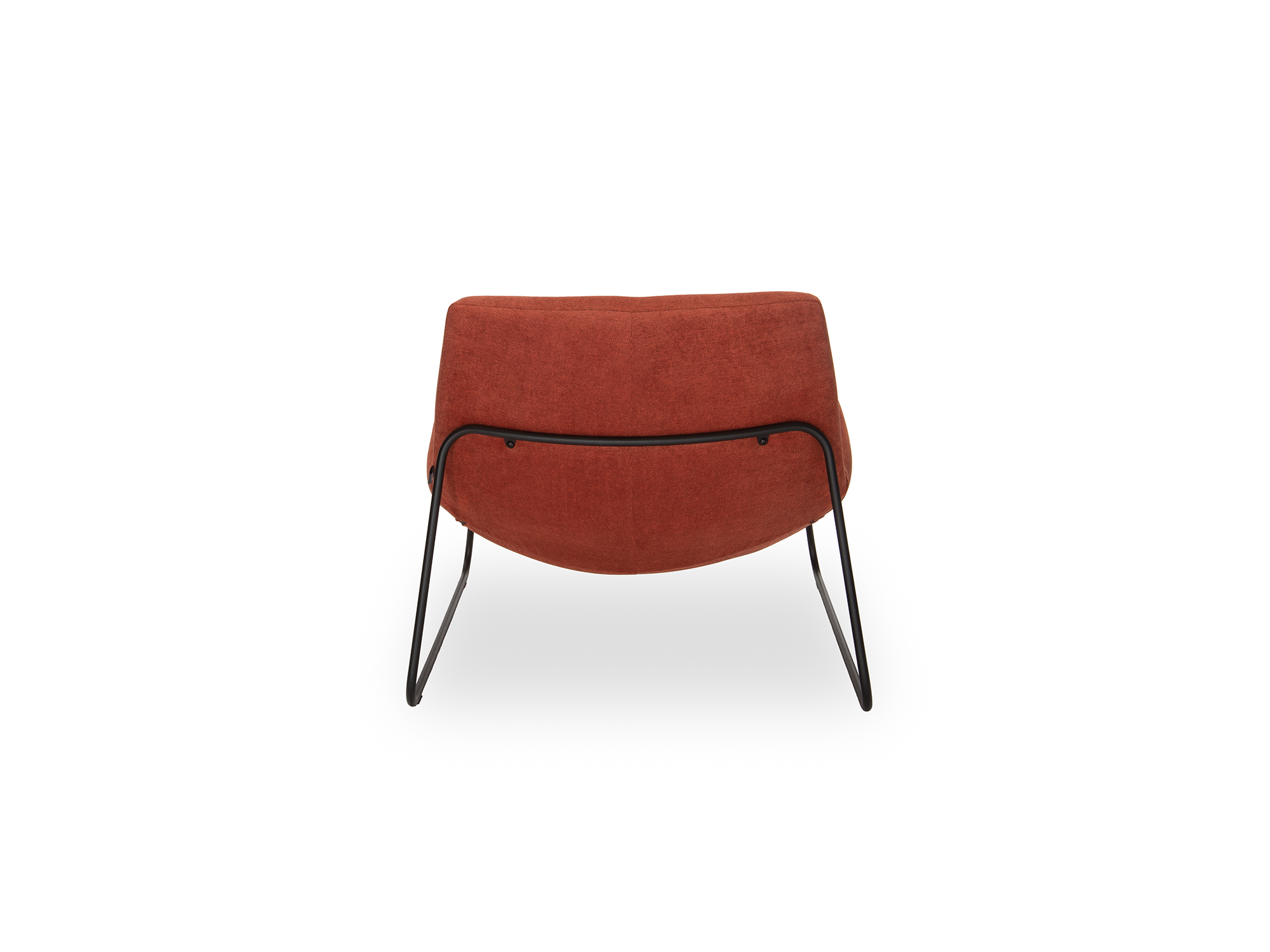 Designfauteuil fortuin donker oranje stalen poot en stof