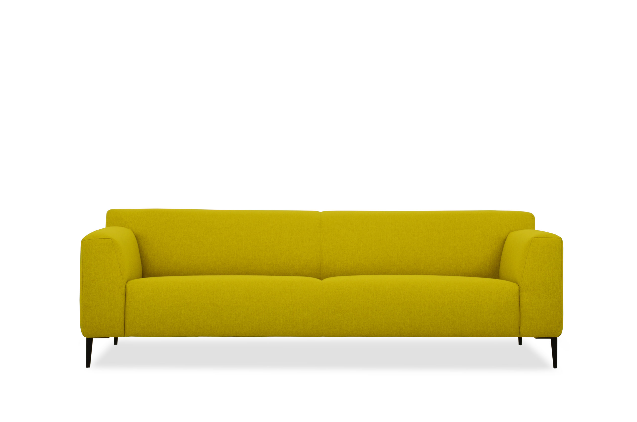 designbank maliesingel fel geel strak model ronde vorm