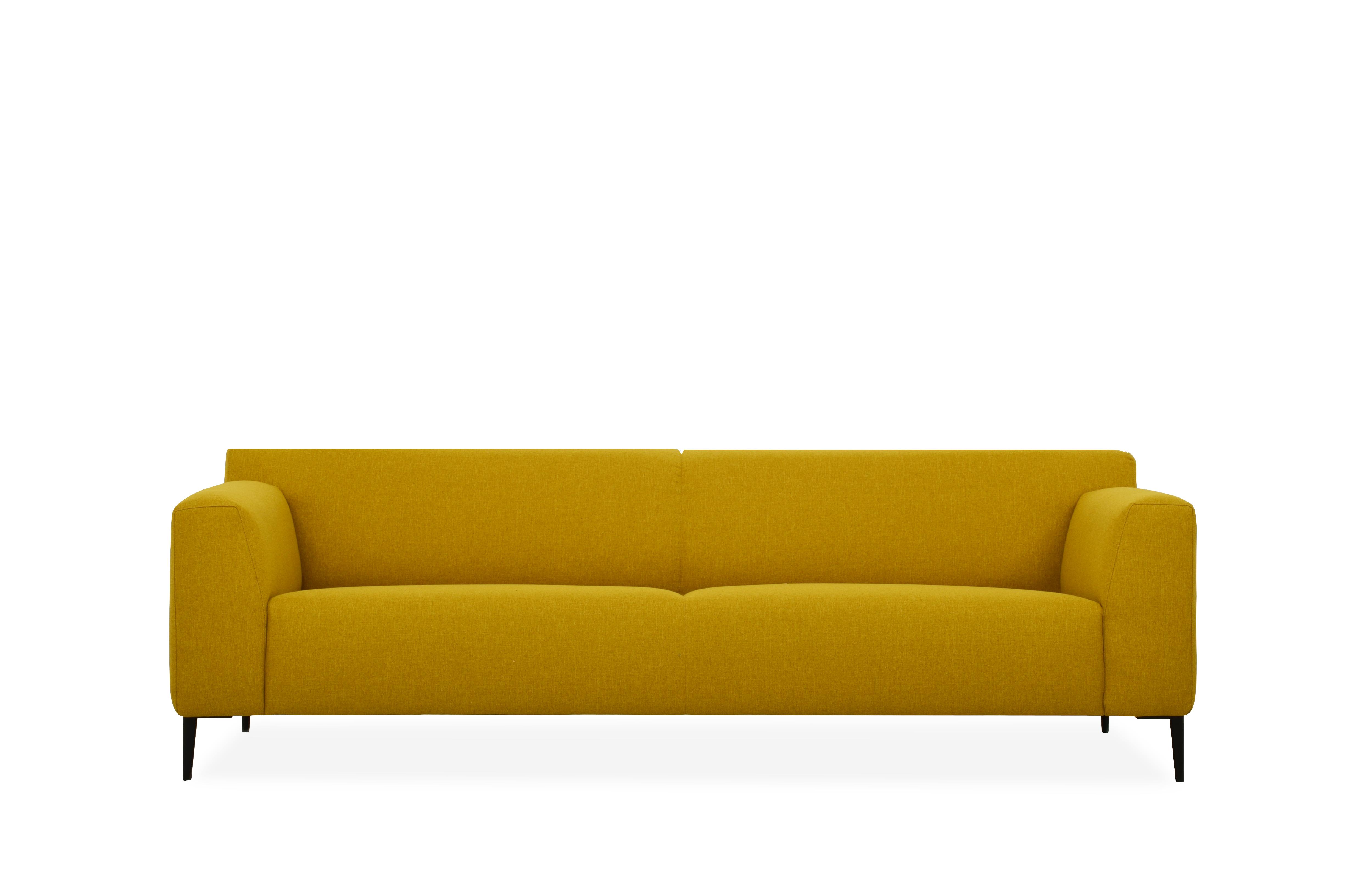 designbank maliesingel mosterd geel strak model ronde vorm